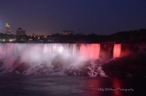 American Falls in Red, Niagara, Toronto, Ontario